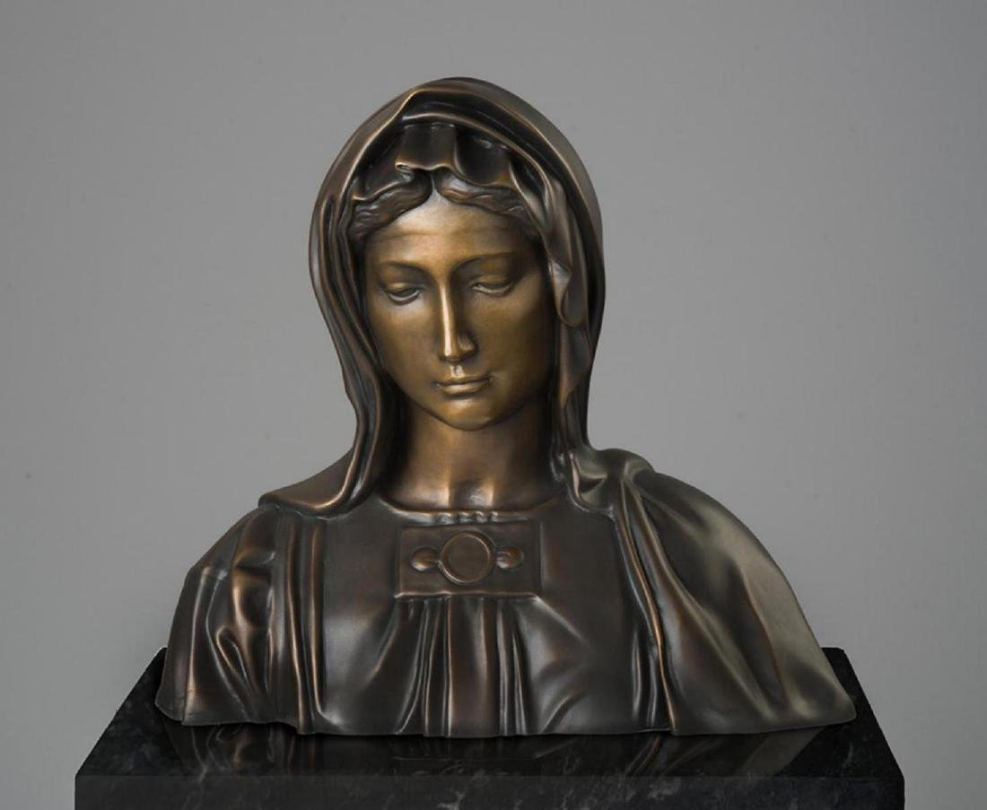 "Michelangelo ""Bruges Madona"" Lost Wax Bronze Sculpture - 2"