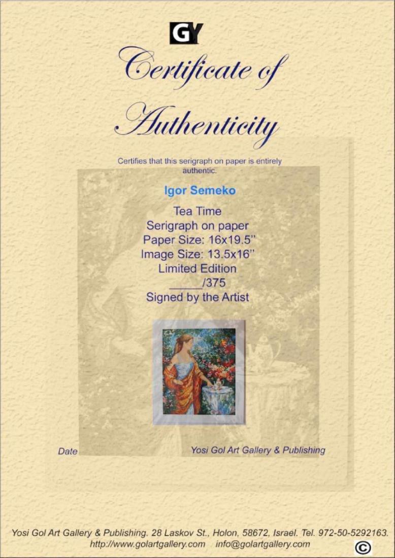 "Igor Semeko Limited Edition Serigraph ""Tea Time"" - 4"