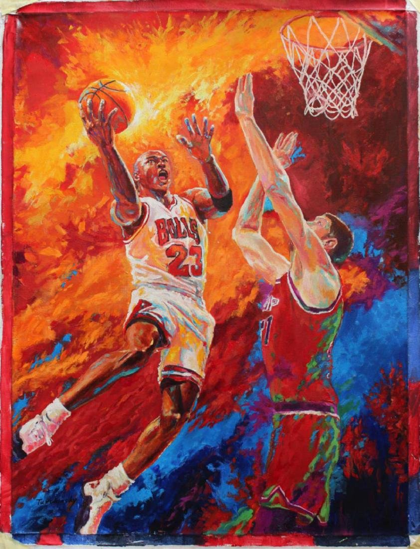 "Turchinskiy Dmitriy Original Oil on Canvas ""Dunk Over"