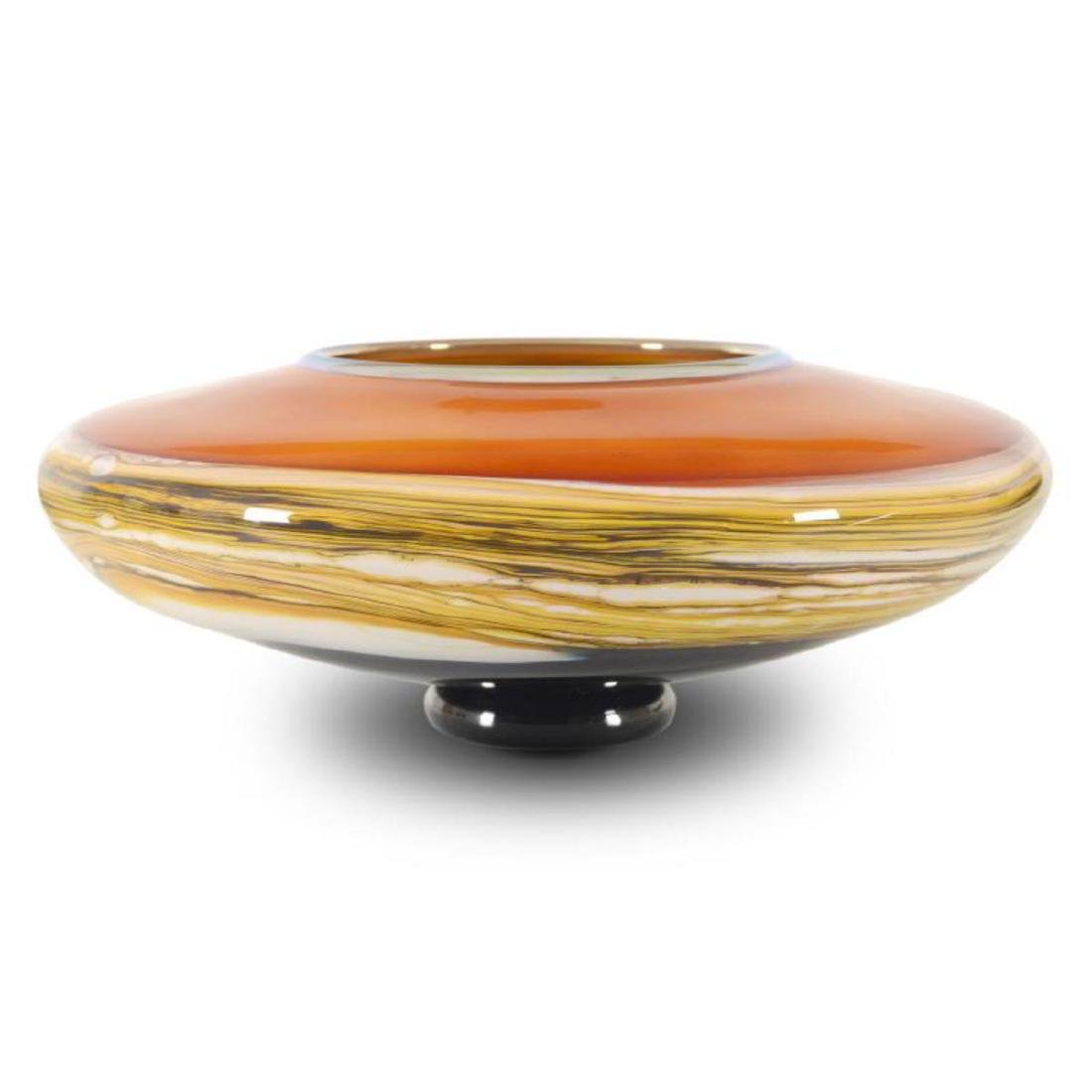 """Strata Series Medium Tangerine Bowl"" Hand Blown Glass"