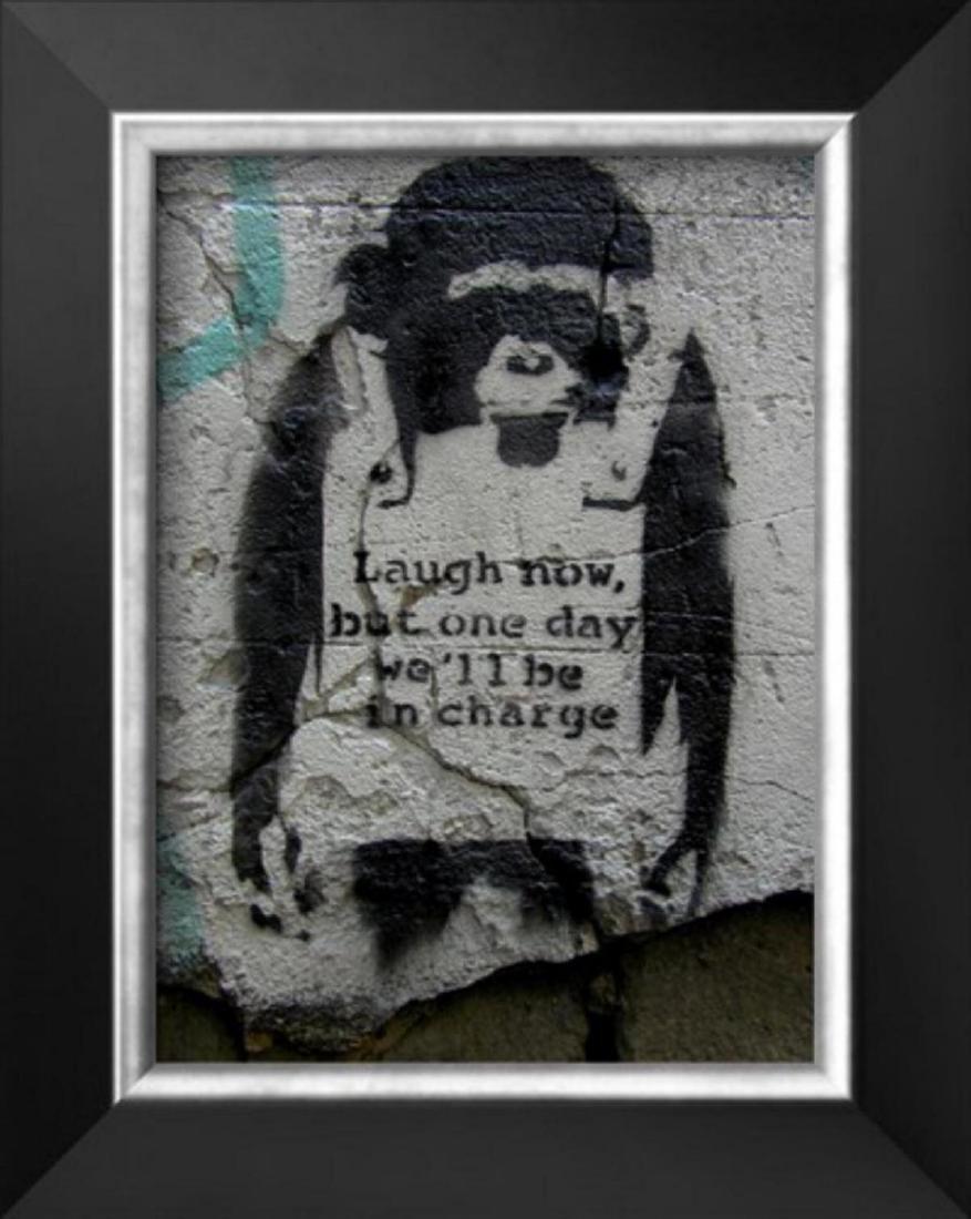 "Banksy ""Laugh Now"" Cusom Framed"