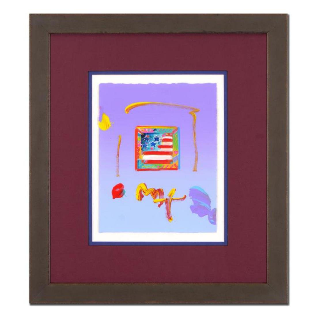 "Peter Max - ""Flag"" Framed One-Of-A-Kind Acrylic Mixed"