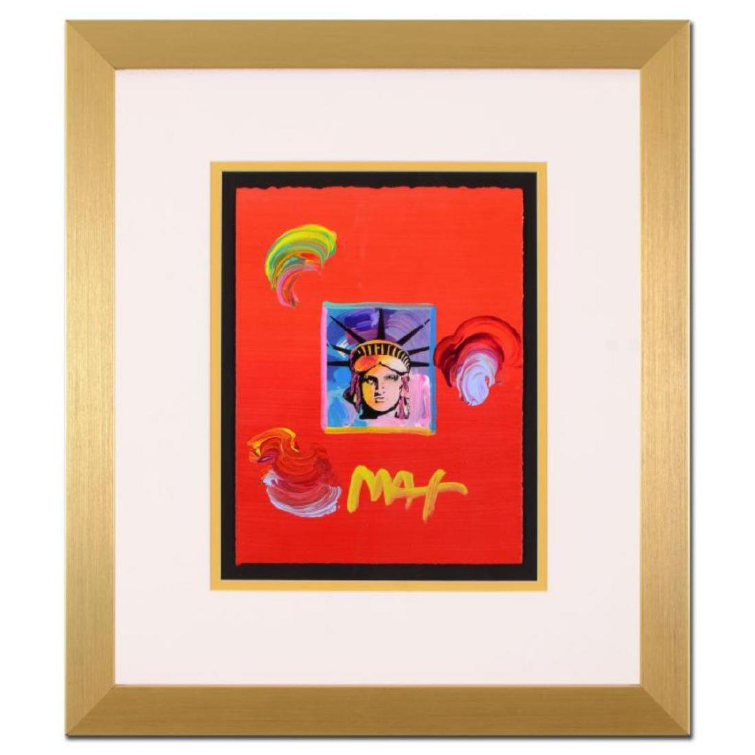 """Peter Max - """"Liberty Head"""" Framed One-Of-A-Kind Acrylic"""