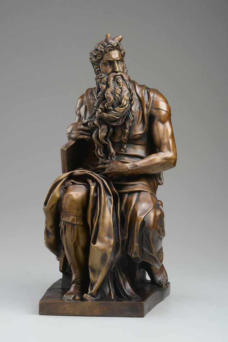 "Michelangelo ""Moses†(3/4 life size) Lost Wax Bronze - 2"