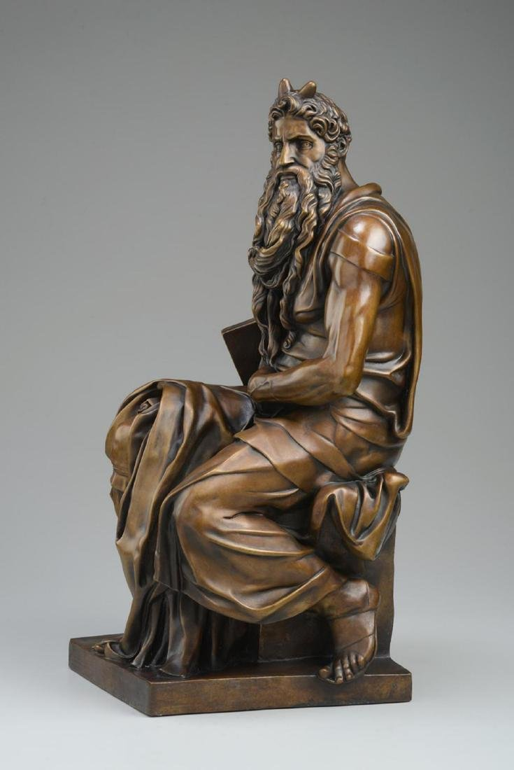 "Michelangelo ""Moses†(3/4 life size) Lost Wax Bronze - 3"