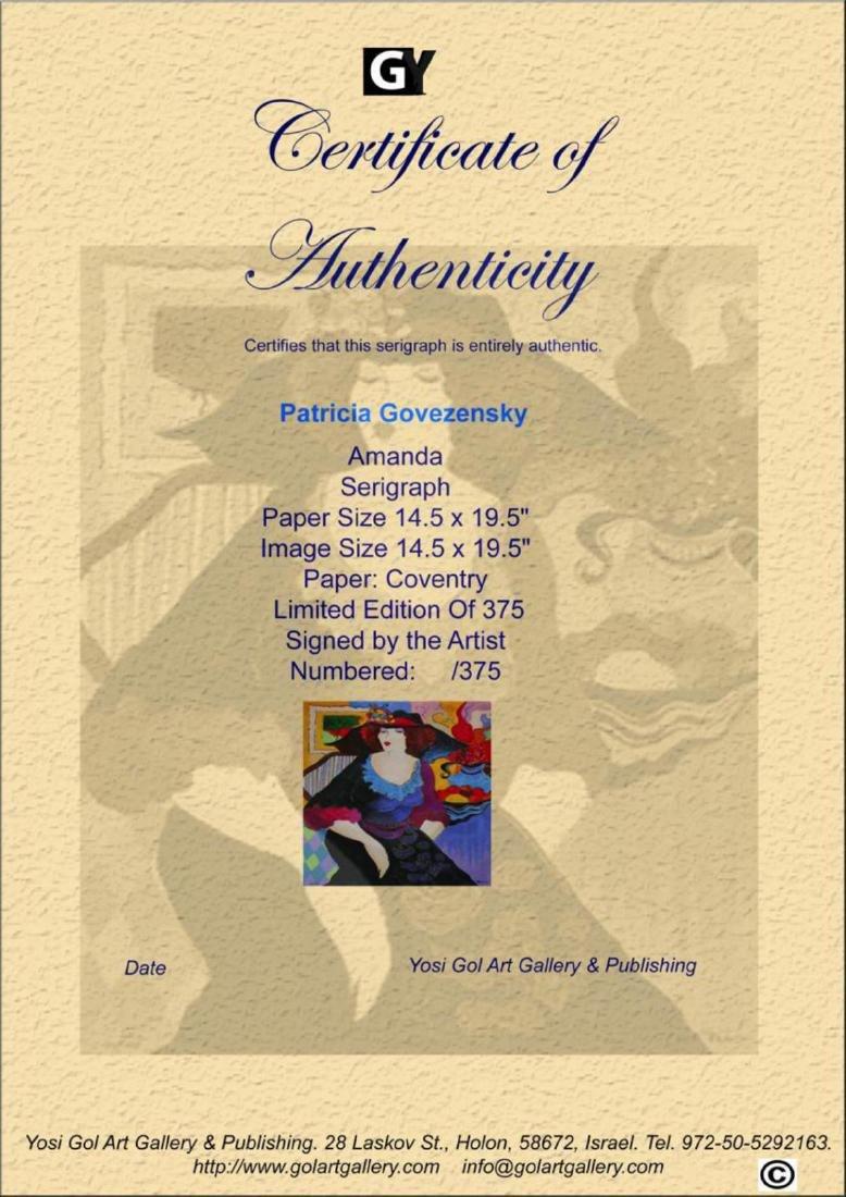 "Patricia Govezensky ""Amanda"" Serigraph on Silk Screen - 3"