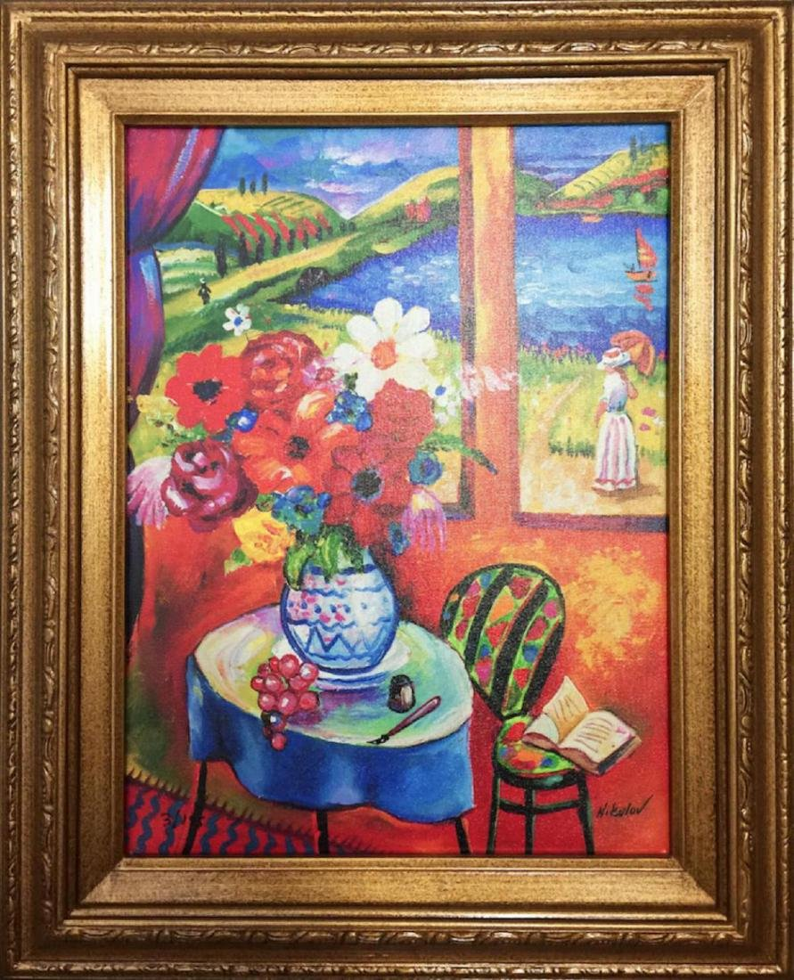 "Oleg Nikulov ""Flower Vase with Countryside View"" Framed"