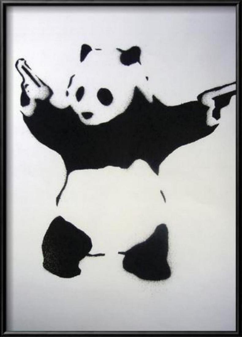 "Banksy ""Pandamonium"" Custom Framed Offset Lithograph"