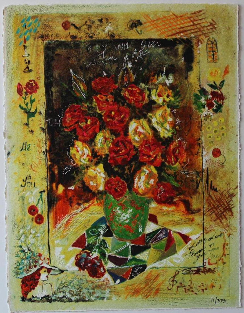 Sergey Kovrigo Silkscreen LE Serigraph- Red Bouquet