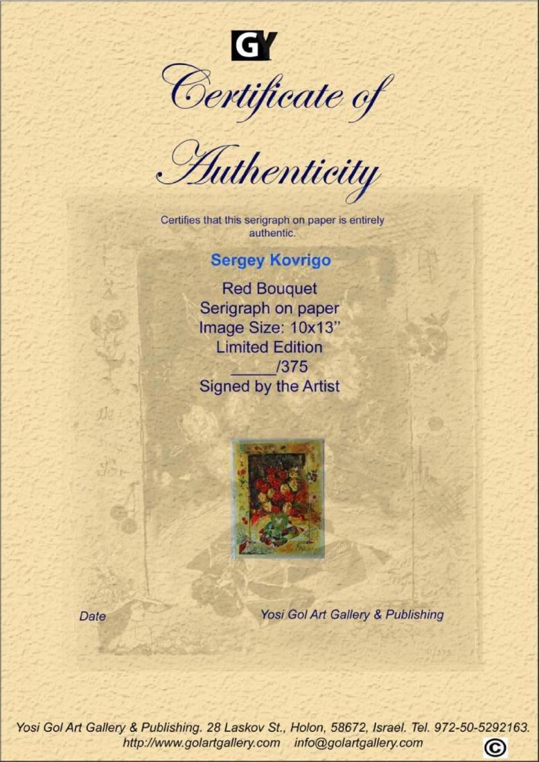 Sergey Kovrigo Silkscreen LE Serigraph- Red Bouquet - 3