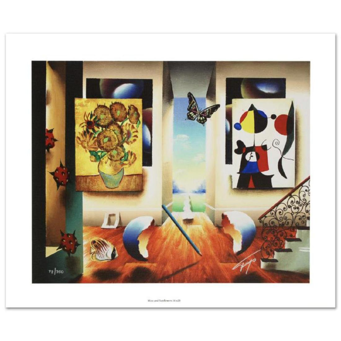 """Miro and Sunflowers"" Limited Edition Giclee on Canvas"