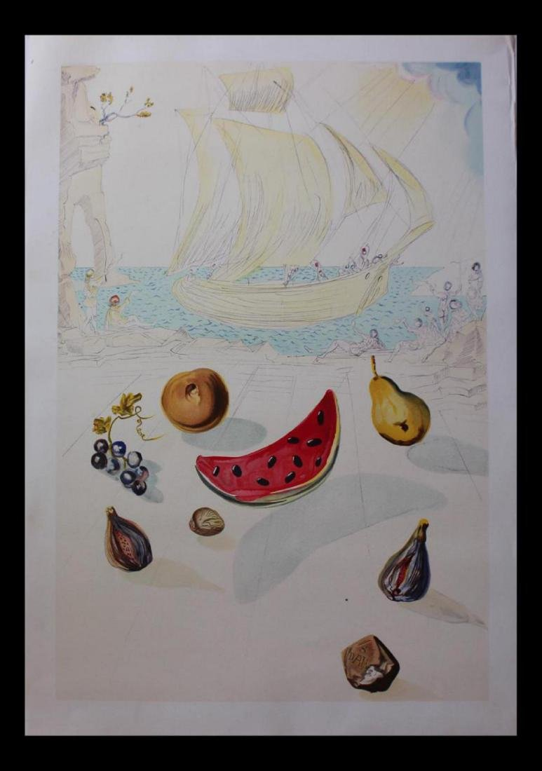 "Salvador Dali Photolithography LE ""Ship and Fruits"""