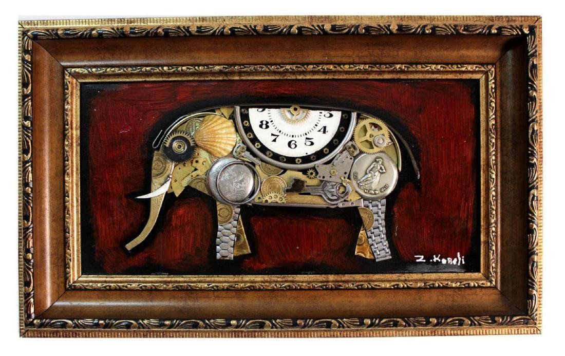 "Zaza Koreli- Original Collage on Wood Panel ""Elephant"""