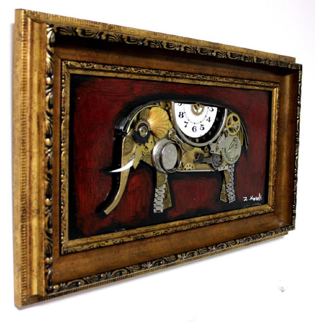 "Zaza Koreli- Original Collage on Wood Panel ""Elephant"" - 2"