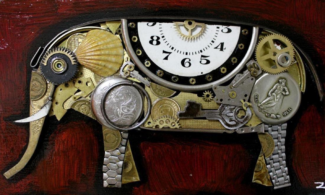"Zaza Koreli- Original Collage on Wood Panel ""Elephant"" - 3"