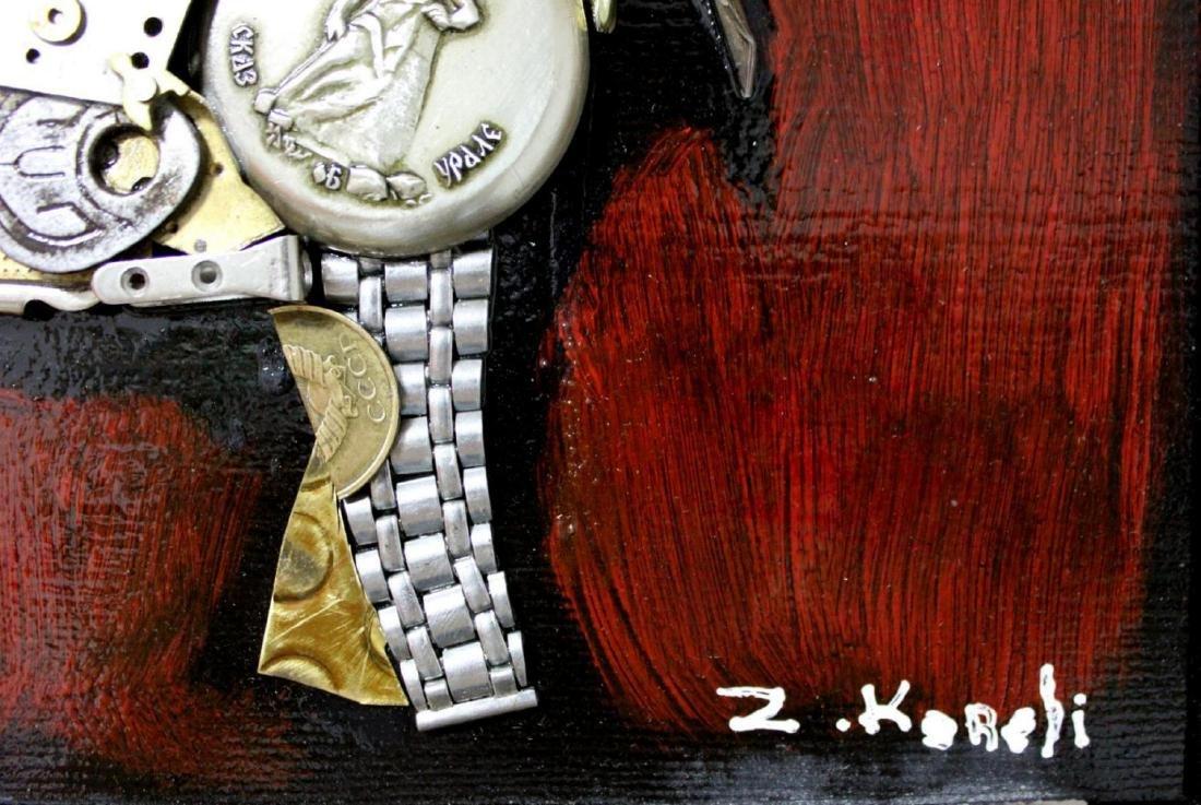 "Zaza Koreli- Original Collage on Wood Panel ""Elephant"" - 4"