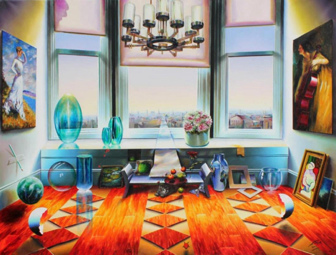 """Ferjo Giclee on Canvas """"City View"""" 30 x 40 in."""