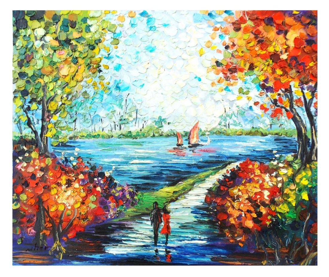 """Svyatoslav Shyrochuk- Original Oil on Canvas """"Riverside"""