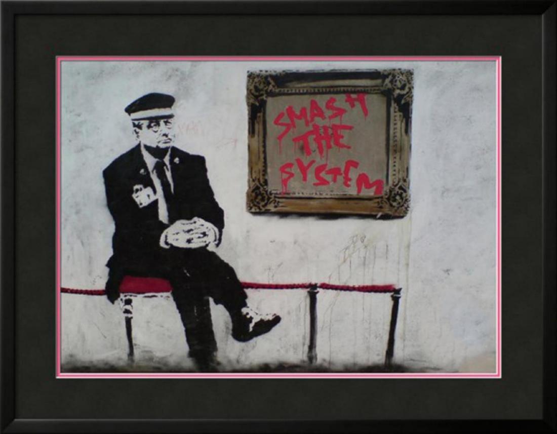 "Banksy ""Smash The System"" Custom Framed Offset"