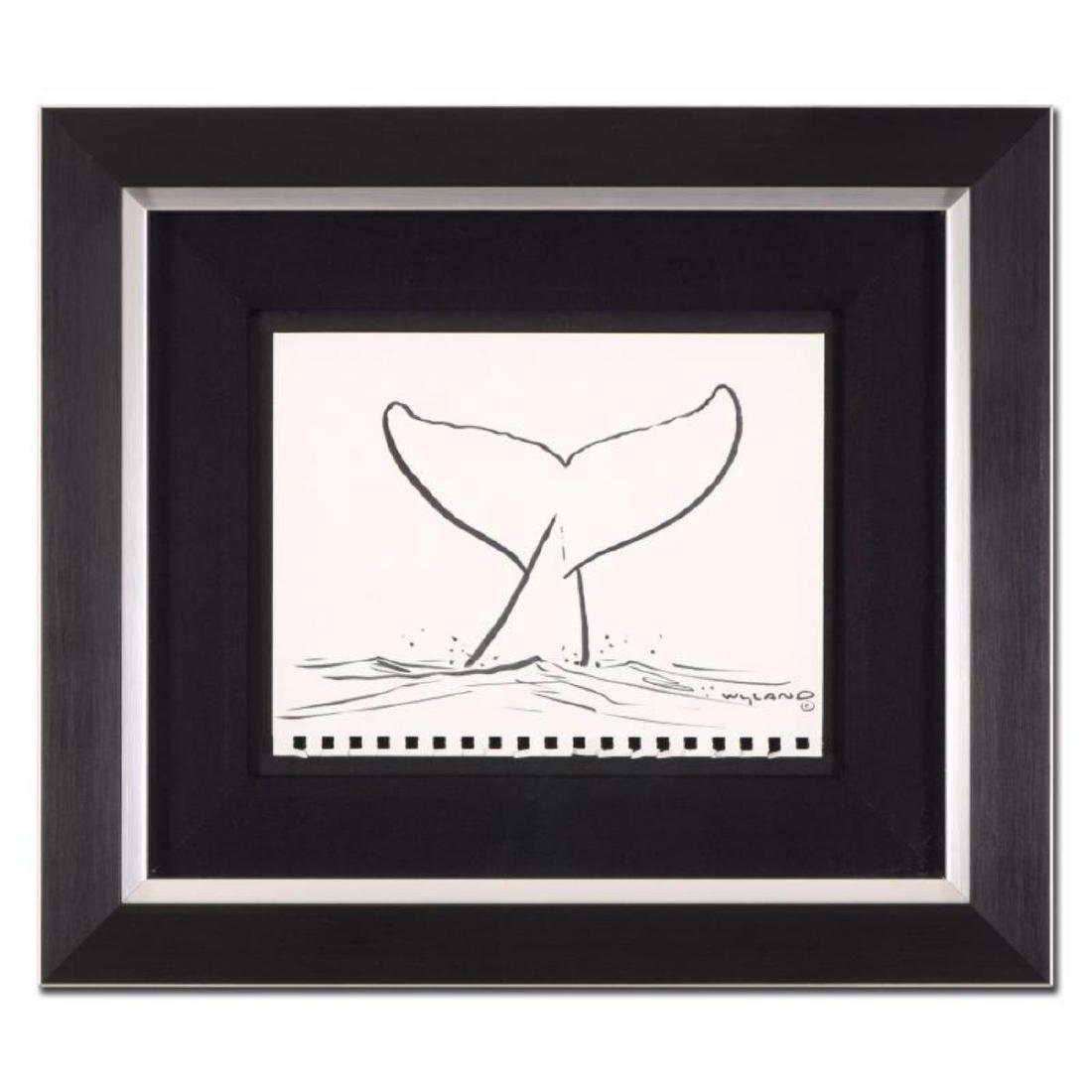 "Wyland - ""Whale Tail"" Framed Original Sketch, Hand"