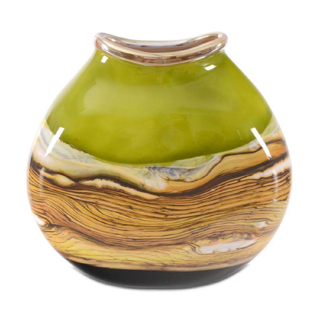 """Strata Series Lime Flat Vessel"" Hand Blown Glass"
