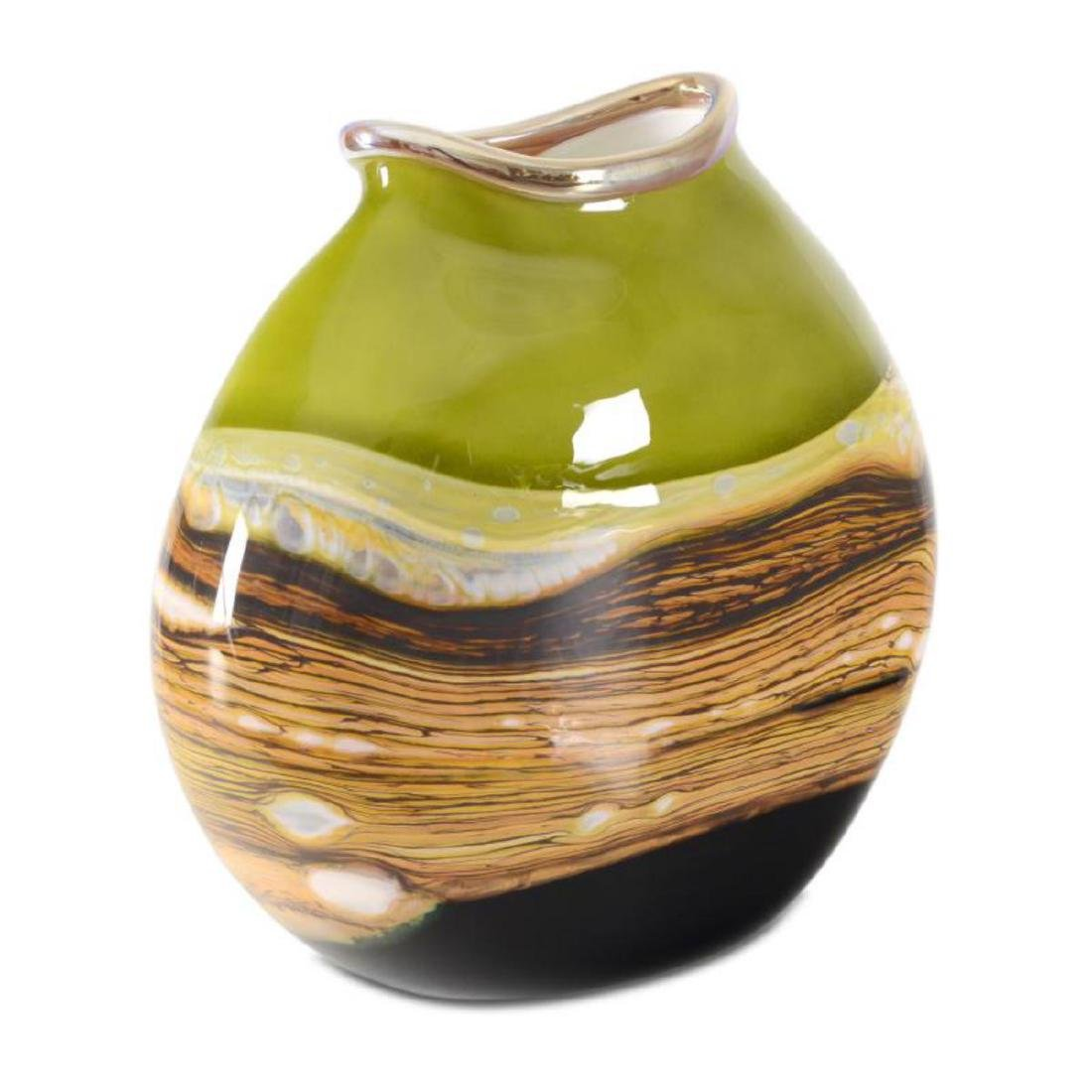 """Strata Series Lime Flat Vessel"" Hand Blown Glass - 3"