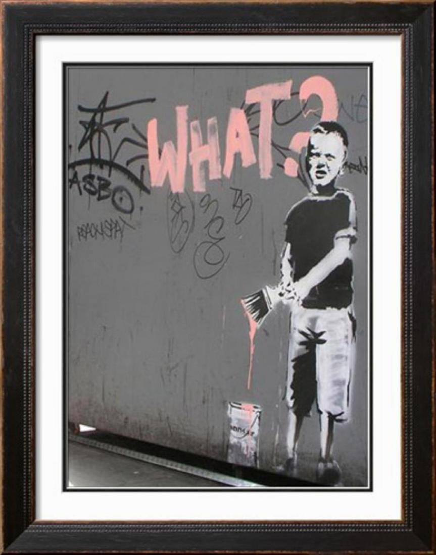 """Banksy """"What?"""" Offset Lithograph"""