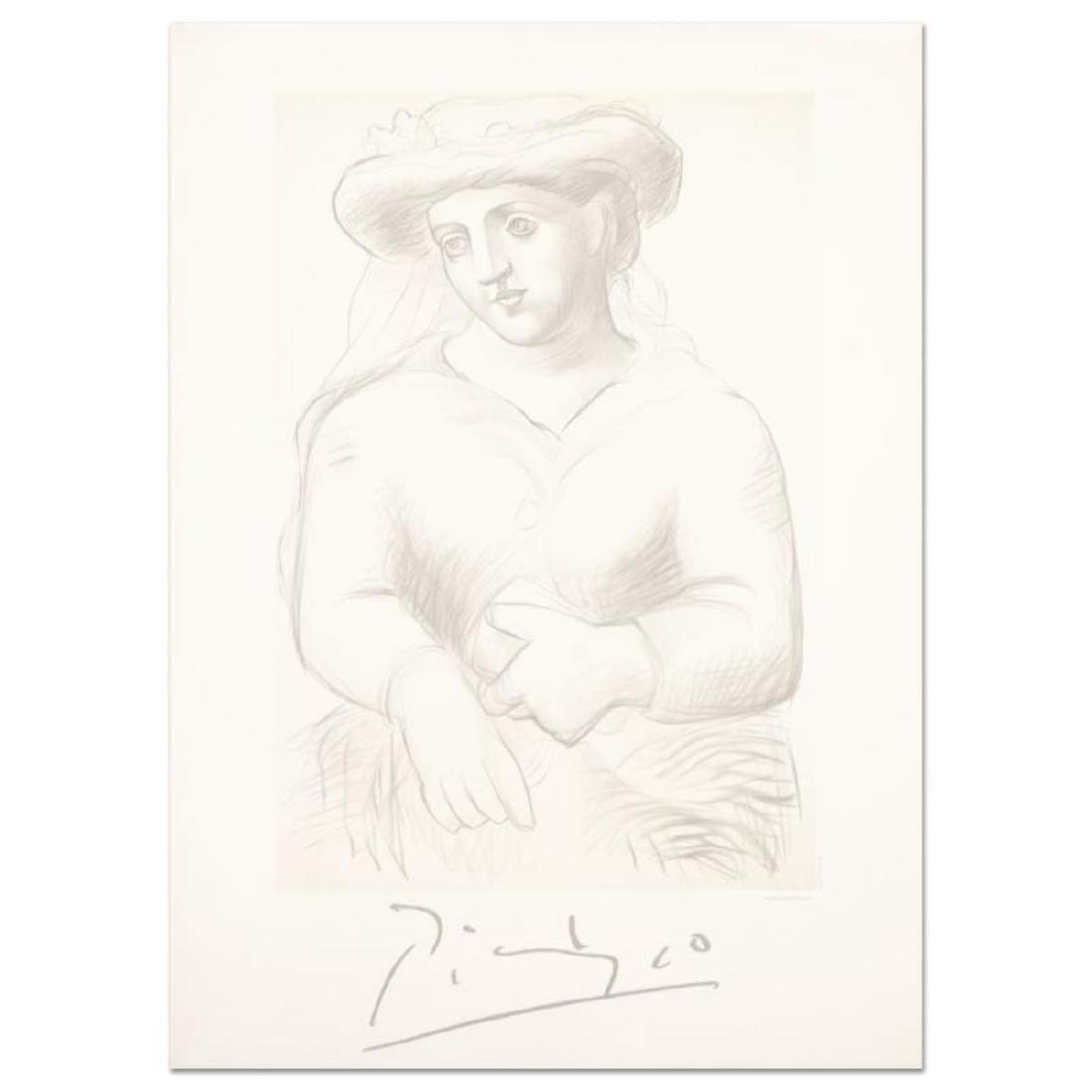 """Pablo Picasso (1881-1973) - """"Femme Au Chapeau Et Au"""