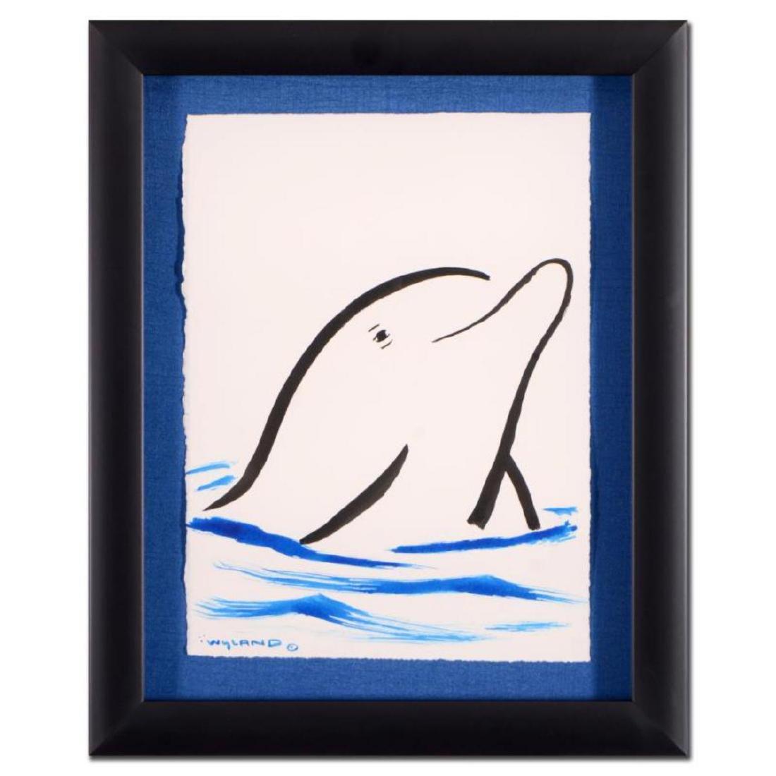 "Wyland - ""Dolphin"" Framed Original Sumi Ink and"