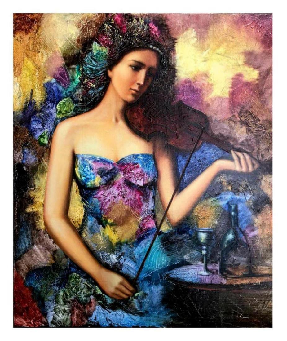 "Taras Sidan- Original Oil on Canvas ""The Violinist"""