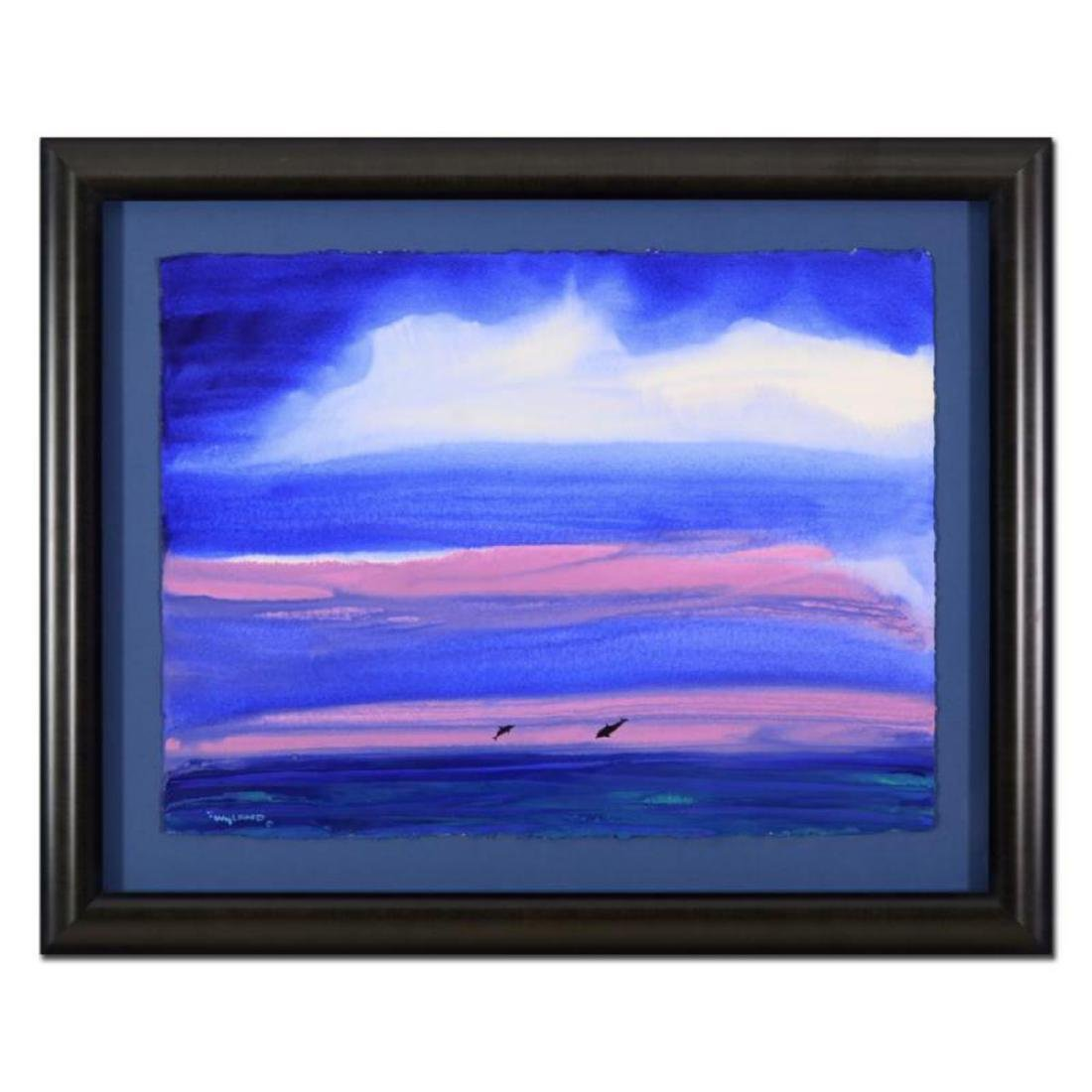 """Wyland - """"Two Dolphins"""" Framed Original Watercolor"""