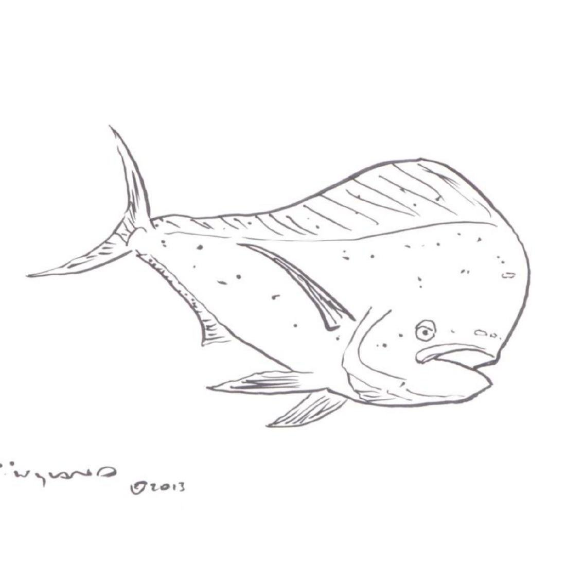 "Wyland - ""Tropical Fish"" Framed Original Sketch, Hand - 2"
