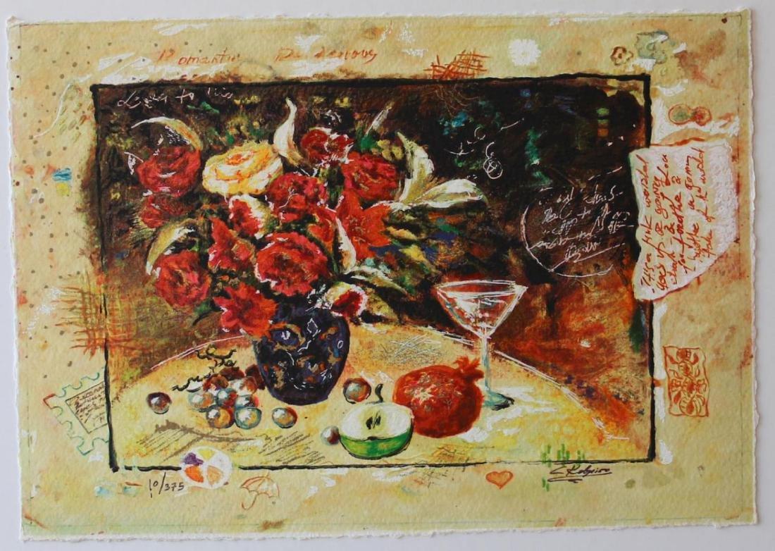 Sergey Kovrigo Serigraph Vintage Art Wine and Roses
