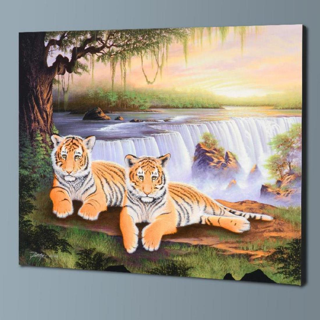 """Tiger Falls"" Limited Edition Giclee on Canvas by Jon - 3"