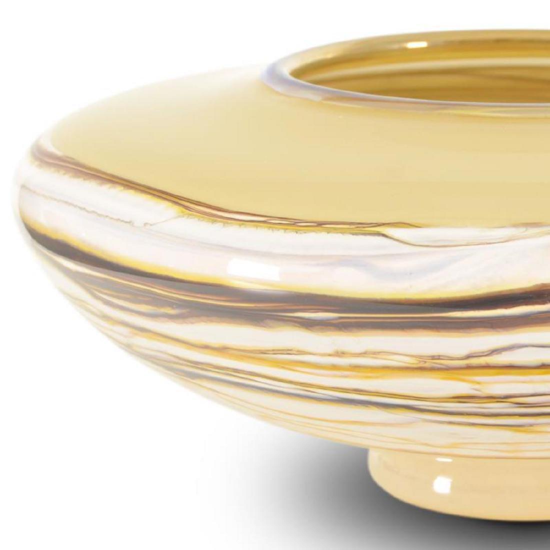 """Strata Medium White Opal Bowl"" Hand Blown Glass Bowl - 2"