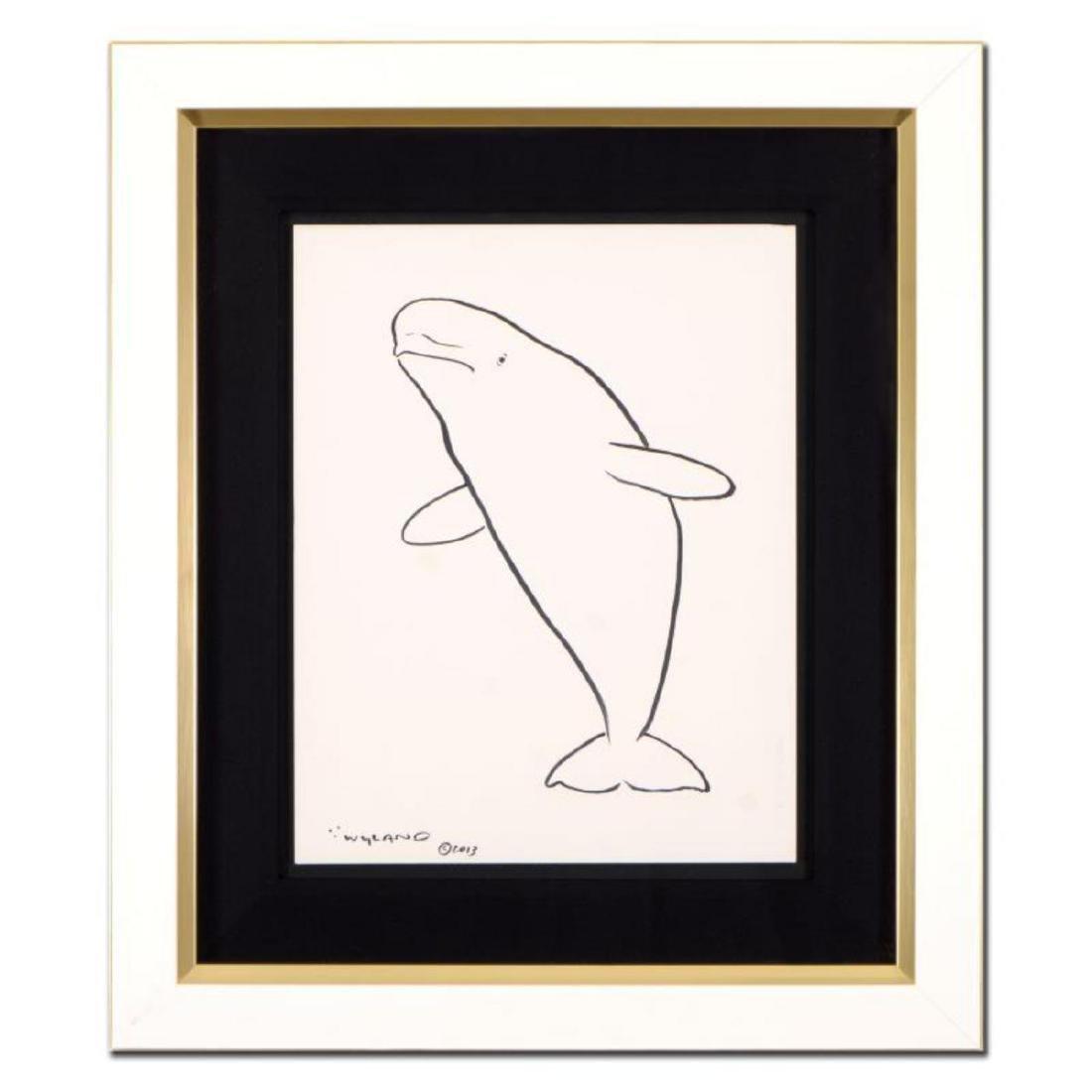 "Wyland - ""Beluga Whale "" Framed Original Sketch, Hand"