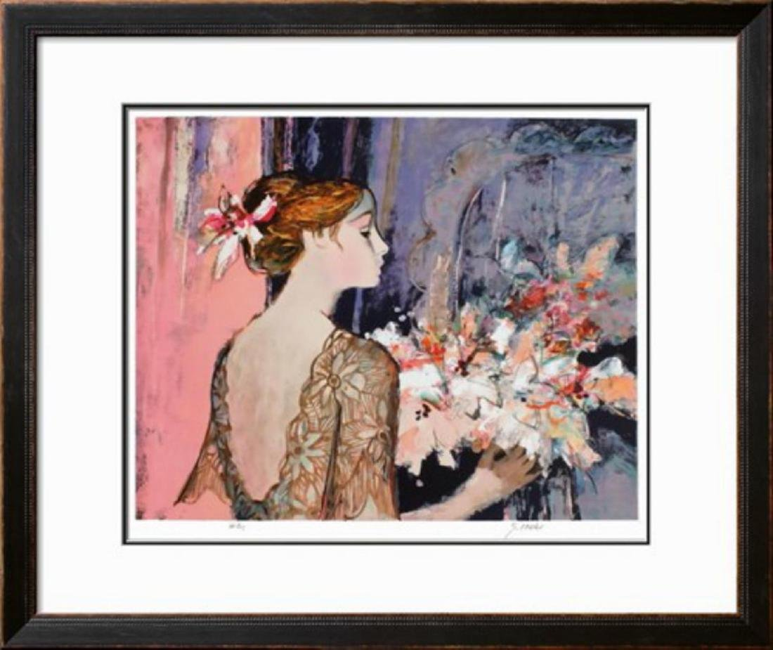 "Sachiko Imai ""Femme au rideau bleu"" Lithograph"