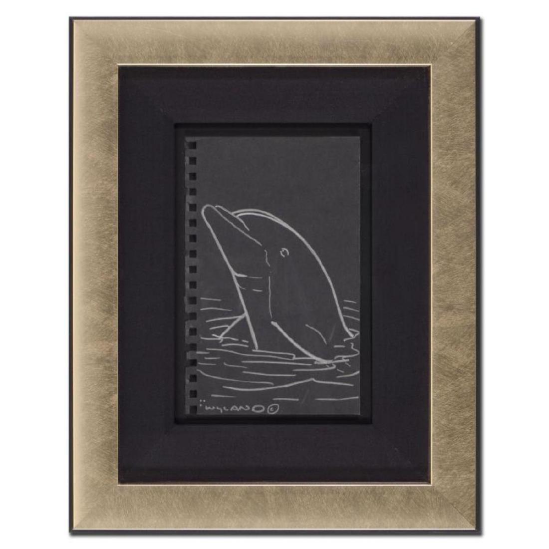 """Wyland - """"Dolphin"""" Framed Original Sketch, Hand Signed"""
