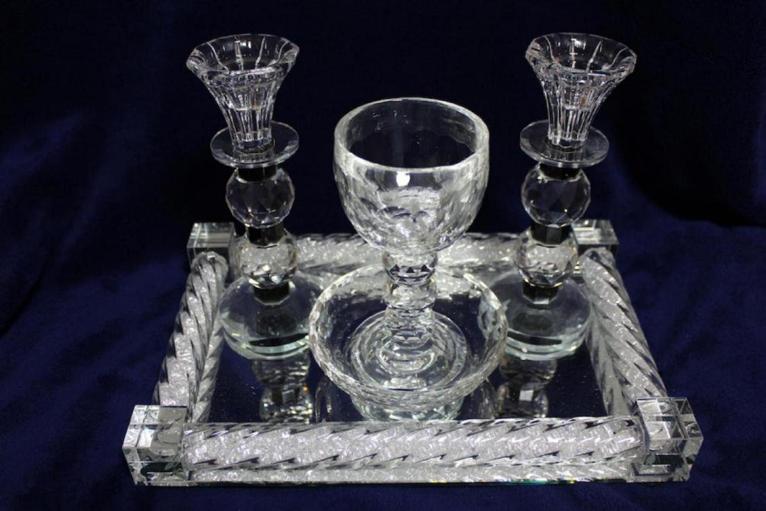 Luxurious Glass and Crystals Judaica Shabbat Set Made