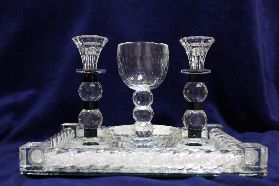 Luxurious Glass and Crystals Judaica Shabbat Set Made - 2