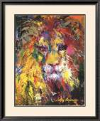 LeRoy Neiman Lion Custom Framed Offset Lithograph