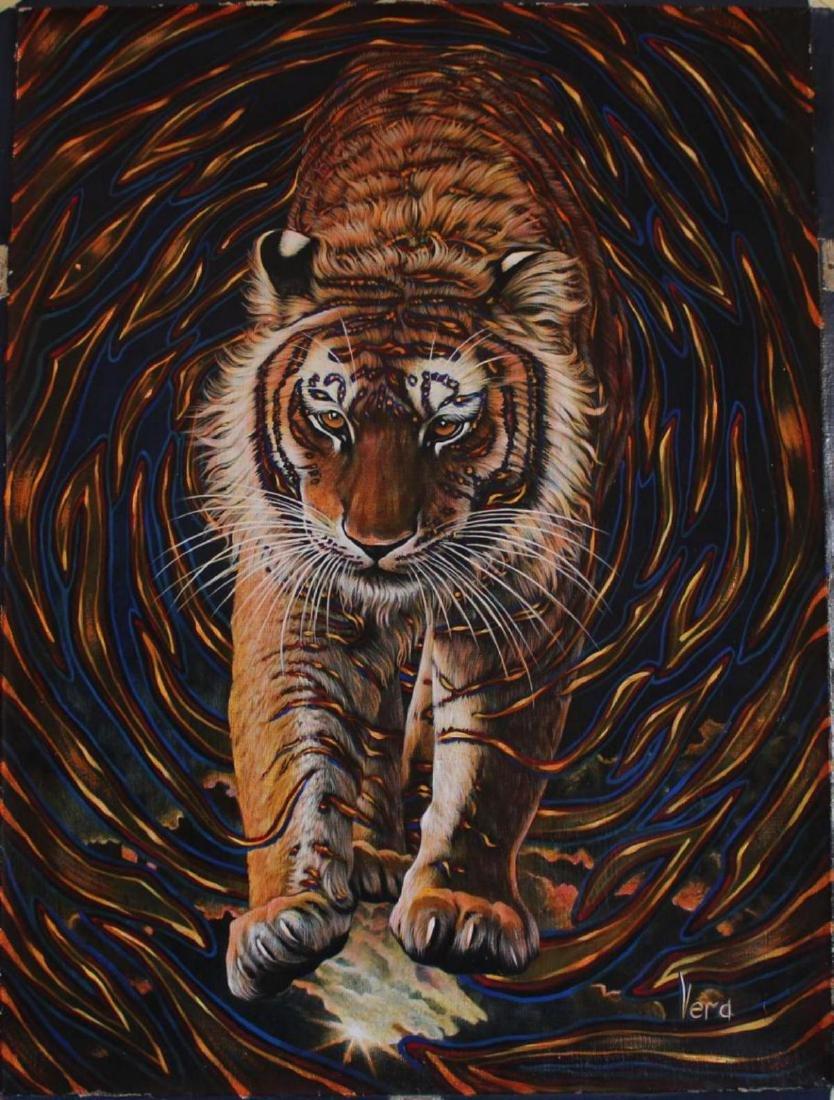 "Vera V. Goncharenko Original Oil on Canvas ""Wild Tiger"""
