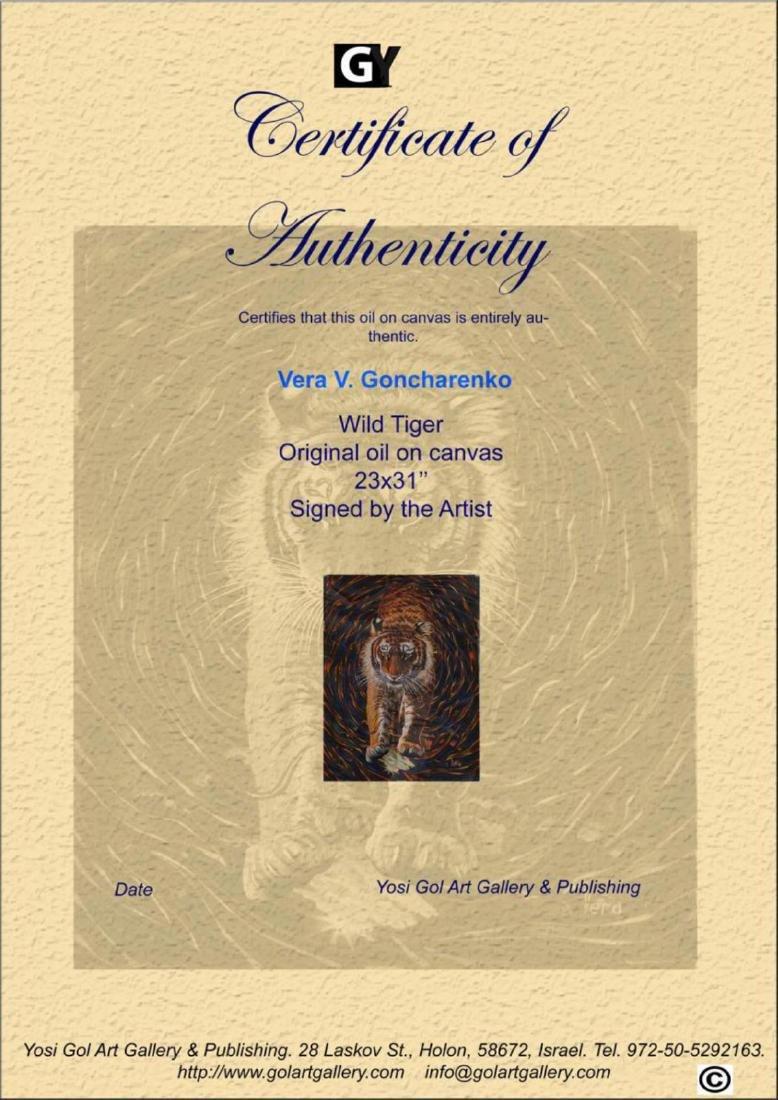 "Vera V. Goncharenko Original Oil on Canvas ""Wild Tiger"" - 3"