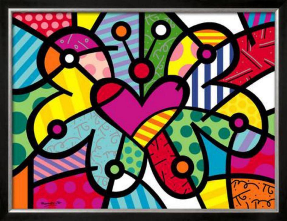 "Romero Britto ""Heart Butterfly"" Custom Framed Offset"
