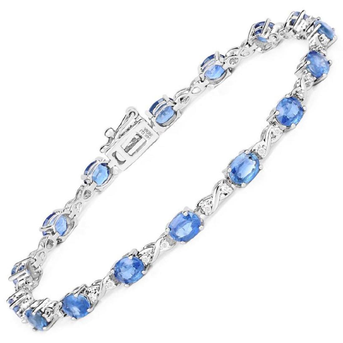 7.81 Carat Genuine Blue Sapphire and White Diamond 14K
