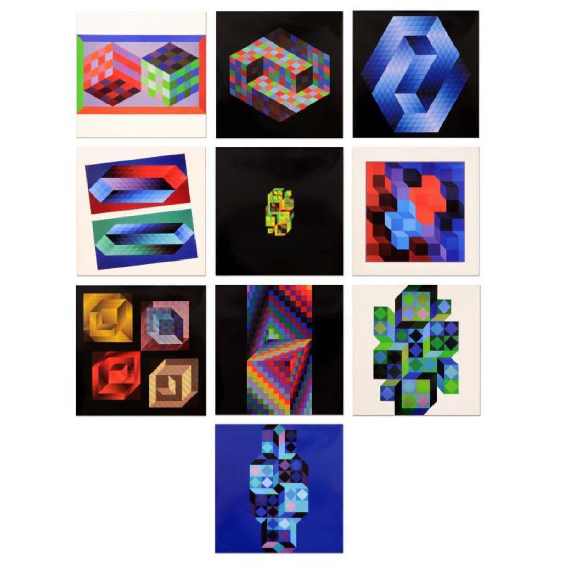 """Victor Vasarely (1908-1997) - """"Hommage Al'hexagone"""