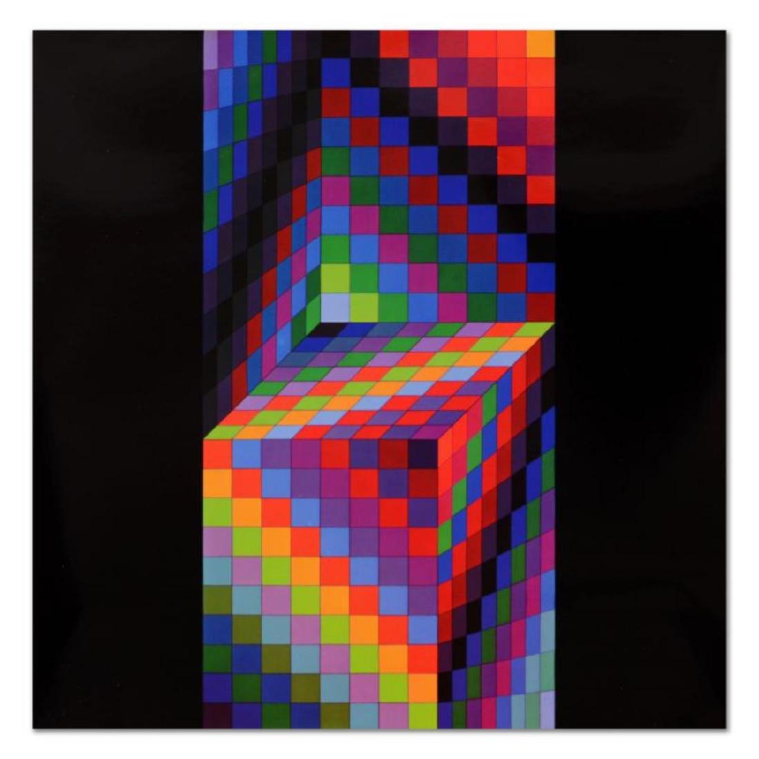 """Victor Vasarely (1908-1997) - """"Hommage Al'hexagone - 2"""