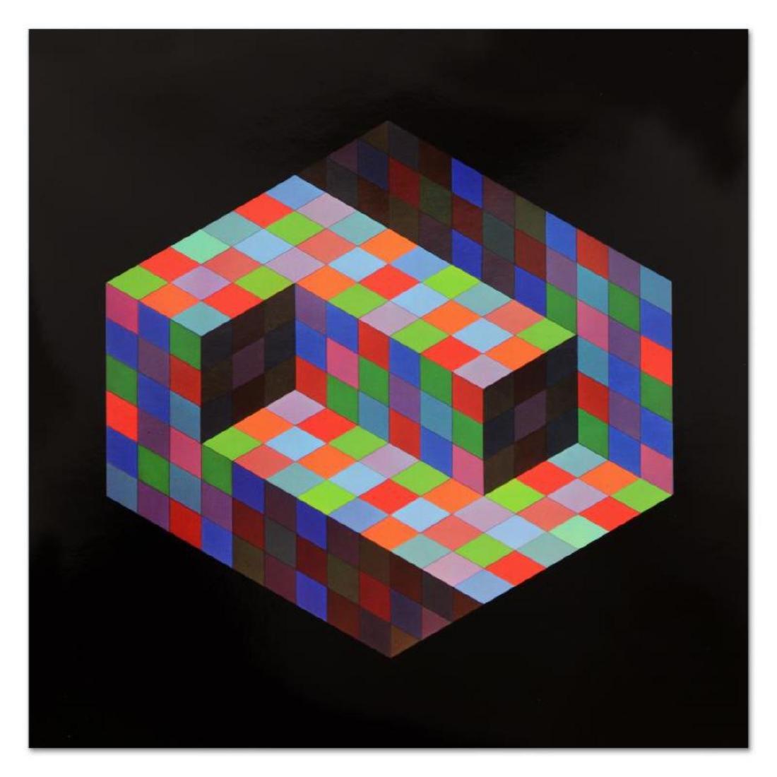 """Victor Vasarely (1908-1997) - """"Hommage Al'hexagone - 3"""