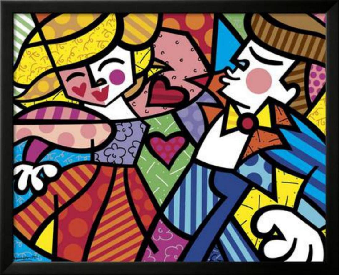 "Romero Britto ""Swing"" Custom Framed Offset Lithograph"