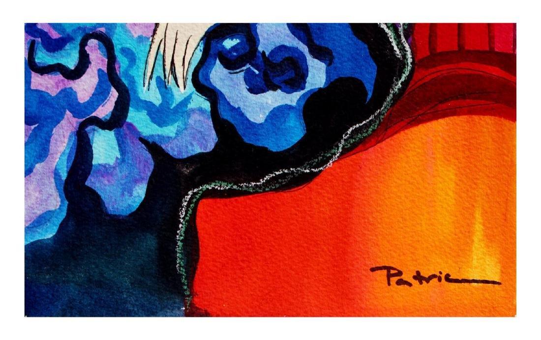 "Patricia Govezensky- Original Watercolor ""Capucine"" - 3"